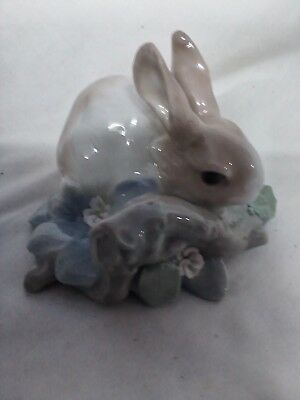 LLADRO porcelain bunny with flowers and limb made in Spain chipped