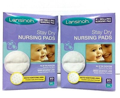 Lot Of 2 Lansinoh Stay Dry Disposable Nursing Pads Breastfeeding Absorbent 60ct
