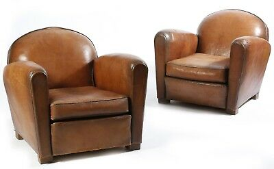 Antique French Club Chair - Art Deco brown leather armchair - MATCHING PAIR!