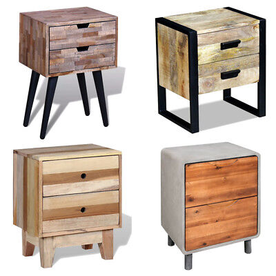 Bedroom Bedside Table Nightstand Side Table With 2 Drawers Storage Cabinet Wood