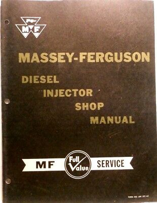 MASSEY-FERGUSON DIESEL INJECTOR Shop Manual, Vintage 1959 Original ...