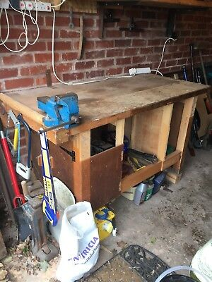 """VINTAGE WORK BENCH made by EMIR cluding WODEN 4"""" ENGINEERS BENCH VICE"""