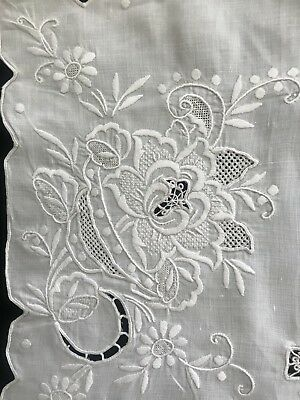 Vintage Floral Embroidered Appenzell Lace Tablecloth & 8 Napkins Linen Ornate