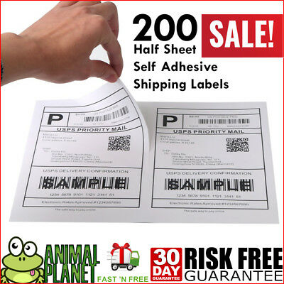200 Half Sheet Self Adhesive Shipping Lables Laser/inkjet USPS UPS FedEx