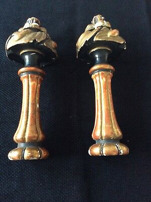 Pair of Antique French Wood & Gilt Finials