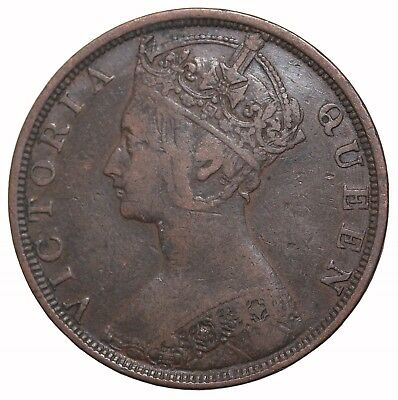 1900-H Hong Kong One Cent Penny Queen Victoria Britsh Coin KM#4.3