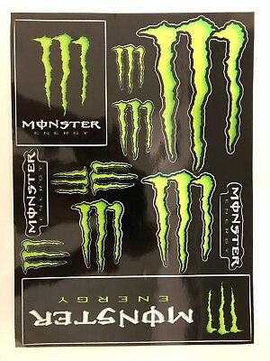Monster Energy Stickers Logo Sheet - Set of 12 Monster Claw Logo - Glossy Decals