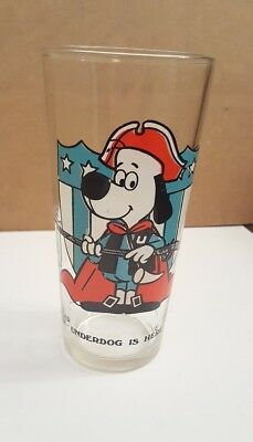 Underdog 1976 Arbys Glass Collector Series Drinking Cup Vintage Bicentennial +