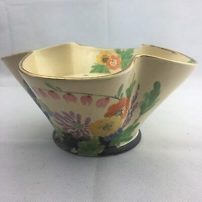 Vintage Hancock Ivory Ware Hand Painted Posy Bowl With Insert