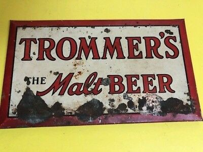 Vintage Trommers Beer Counter/Register Advertising Metal Sign small Early rare