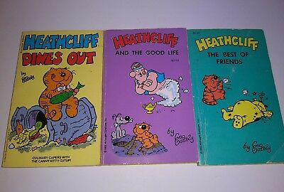 LOT of 3 Vintage HEATHCLIFF Paperback Comic Books Newspaper Strip by Geo Gately