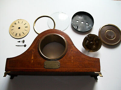 Vintage mantle clock case with movement and its parts