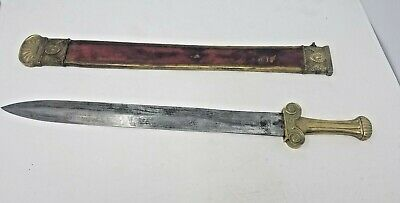 French 1794 Ecole De Mars Side Arm Antique Sword Blade Sheath Red Leather Brass