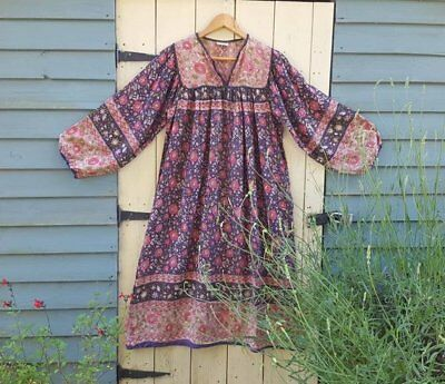 Vtg Indian cotton gauze dress hippy Bohos s m 10 12 6 8 4  70s block print spell