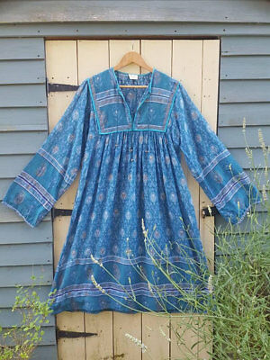 teal Vtg Indian cotton gauze dress hippy Boho s m 10 12 14 6 8 spell gypsy