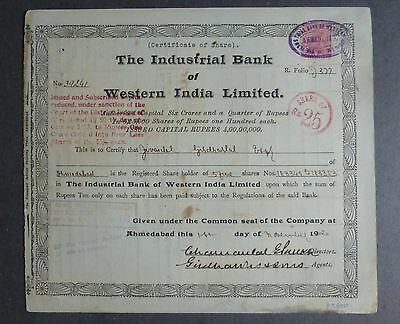 Historische Aktie The Industrial Bank of Western India Limitied  November 1920