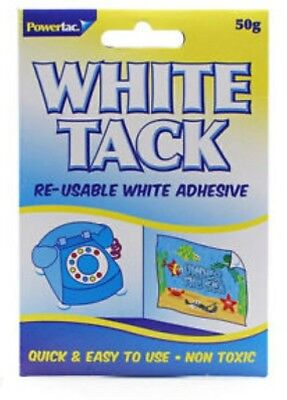 White Tack Blue Tac Re-usable Repositionable White stong Adhesive 50g New