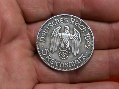 1942 5 Reich Mark German Fueher Fuhrer War Eagle Wwii Collectible Coin