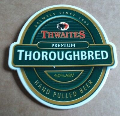 Beer pump badge clip THWAITES brewery THOROUGHBRED real cask ale pumpclip front