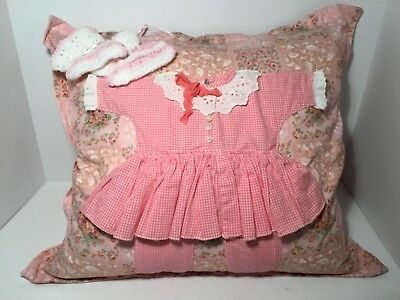 Vintage Pillow, Pink Baby Shower w/Girl Outfit & Crocheted Booties - CLEAN