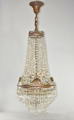 Antique French Empire Style Tiered Cut Crystal Chandelier Bronze Tone Patina
