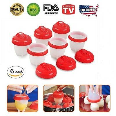 Egglettes Egg Cooker Hard Boiled Eggs without Shell 6 pcs Eggies Silicone Cups