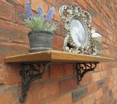 SOLID OAK WOOD HANDMADE SHELVES rustic Shelf cast iron shelf brackets