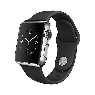 Apple Watch 1st Gen 38mm Stainless Steel Case with Black Sport Band S/M