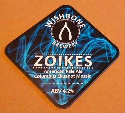 Beer pump badge clip WISHBONE brewery ZOIKES cask ale pumpclip front Yorkshire