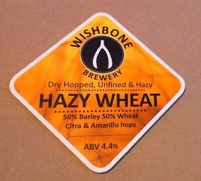 Beer pump badge clip WISHBONE brewery HAZY WHEAT ale pumpclip front Yorkshire