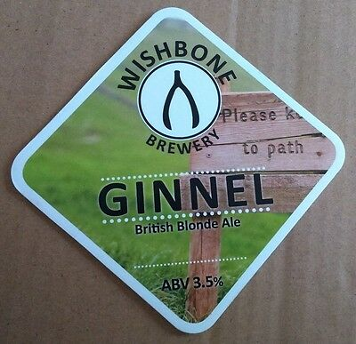 Beer pump badge clip WISHBONE brewery GINNEL cask ale pumpclip front Yorkshire