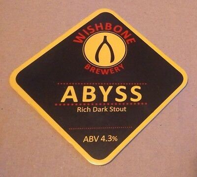 Beer pump badge clip WISHBONE brewery ABYSS cask ale pumpclip front Yorkshire