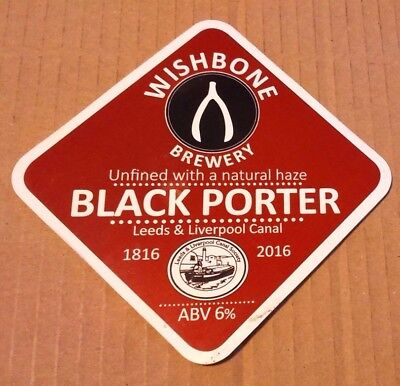 Beer pump badge clip WISHBONE brewery BLACK PORTER ale pumpclip front Yorkshire