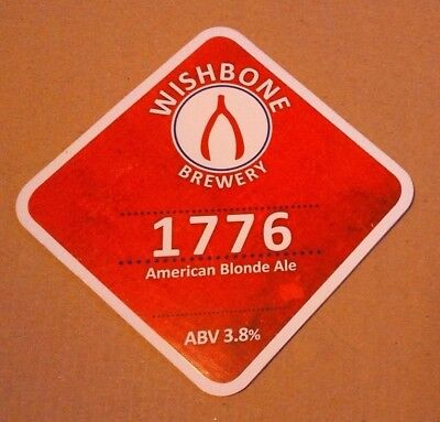 Beer pump badge clip WISHBONE brewery 1776 cask ale pumpclip front Yorkshire