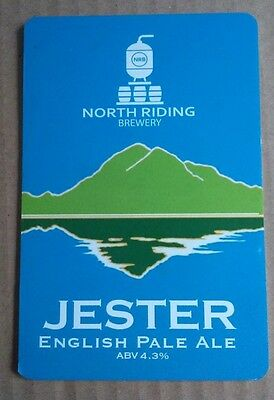 Beer pump badge clip NORTH RIDING brewery JESTER cask ale pumpclip front Yorks