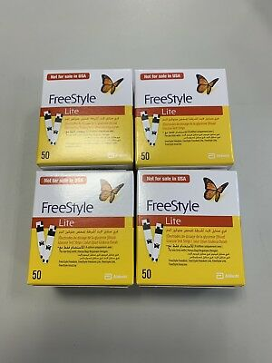 4 Boxes Of 50 Freestyle Lite Diabetic Blood Glucose Test Strips Exp 11/2020