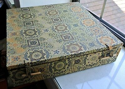 Large vintage fitted textile lined cardboard box for ornaments, 26+6cm Chinese ?