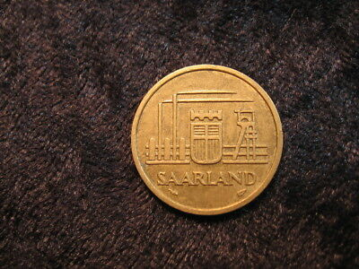 1 old world foreign coin SAARLAND 20 franken KM2 1954 FREE S&H