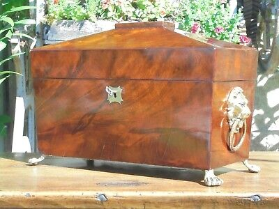 Antique Regency Flamed Mahogany Sarcophagus Tea Caddy With Mixing Bowl C1820
