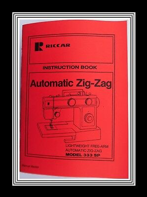 RICCAR Model 333 SP ZigZag Sewing Machine Instruction Manual Booklet