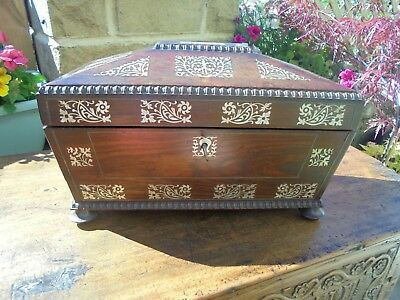 Antique William Iv Rosewood Tea Caddy Inlaid With Mother Of Pearl C1830