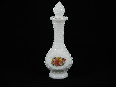 "White Milk Glass Hobnail Bud Vase Cologne Bottle With Stopper Empty 8"" H"