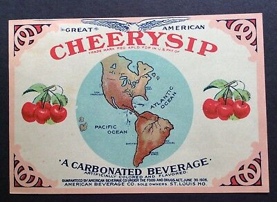 Cheerysip Carbonated Soda Great American Beverage Co. St. Louis MO Paper Label
