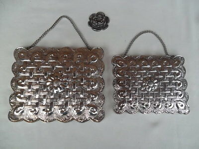 Turkish 900 Silver Repousse Wedding Frame Mirror Set Of 2 Square