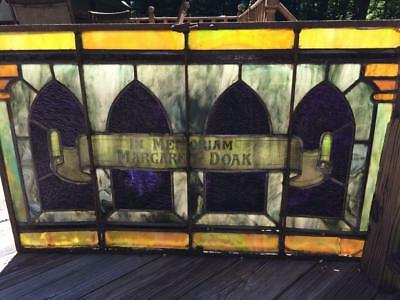 Antique Church Stained Glass Window Architectural Salvage Gothic In Memoriam Of