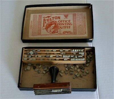 2 Antique Collectibles- Fulton Printing Box, Pencil School box with Drawer.