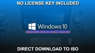 Windows 10 Pro Home 32 64 bit Install Upgrade Recovery ISO Download NO KEY