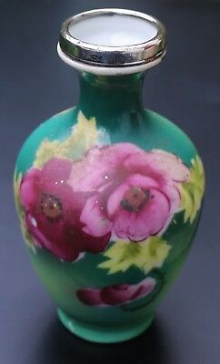 Antique Silver Topped Hand Painted Japanese Vase London 1920 Floral Scene
