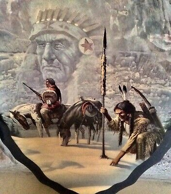 Vintage Indian And Horse Print On Wooden Arrowhead Plaque