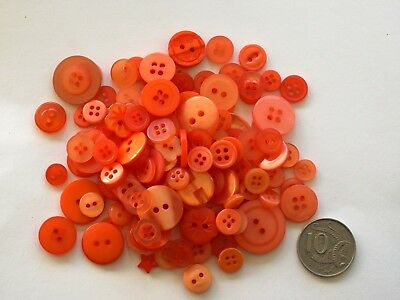 Orange Buttons - 50 Mixed Pack - New - Scrapbooking Sewing Craft